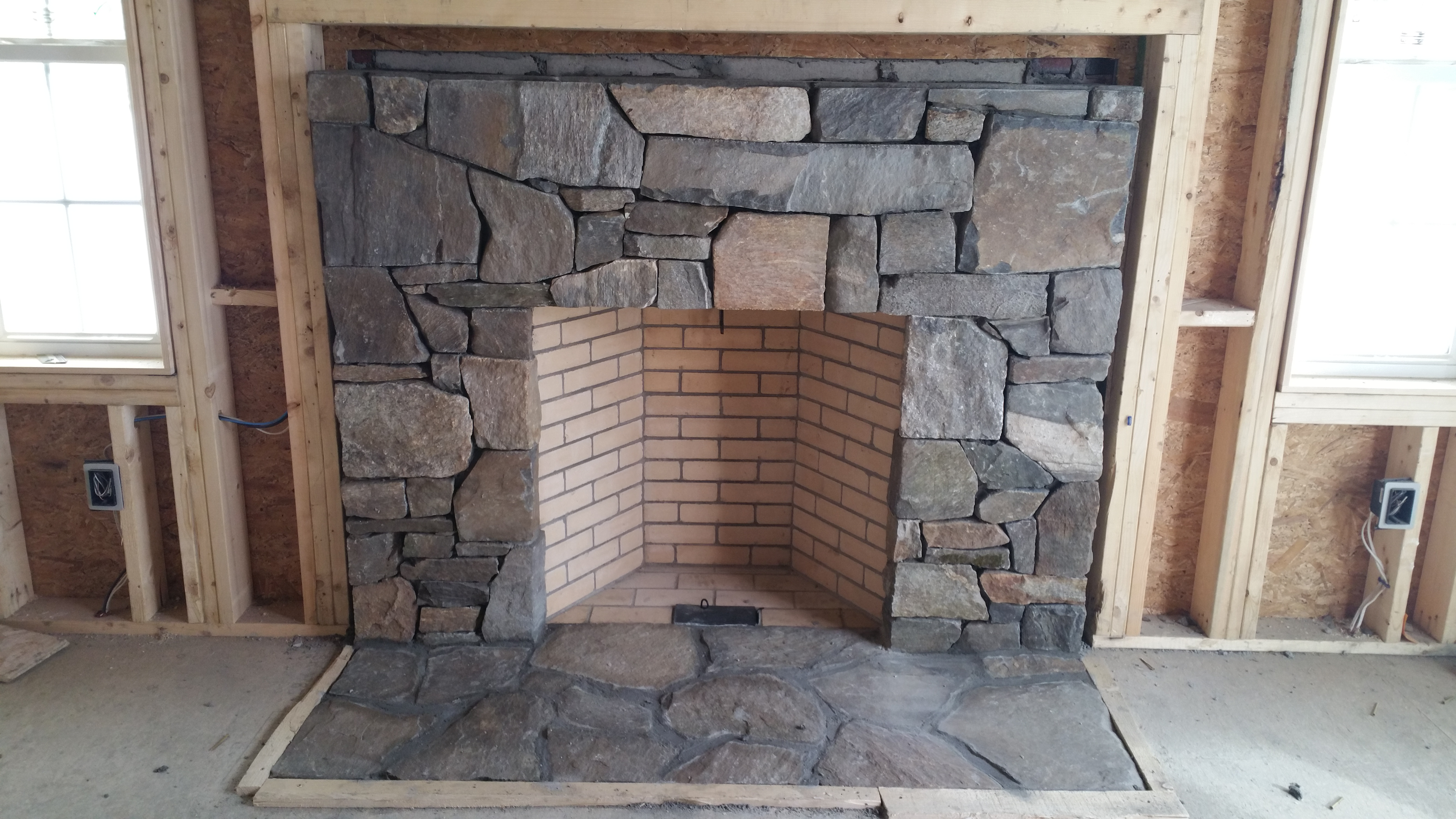 Thin stone veneer installations in massachusetts for New construction fireplace