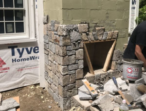 Outdoor Fireplace Construction Before Photo
